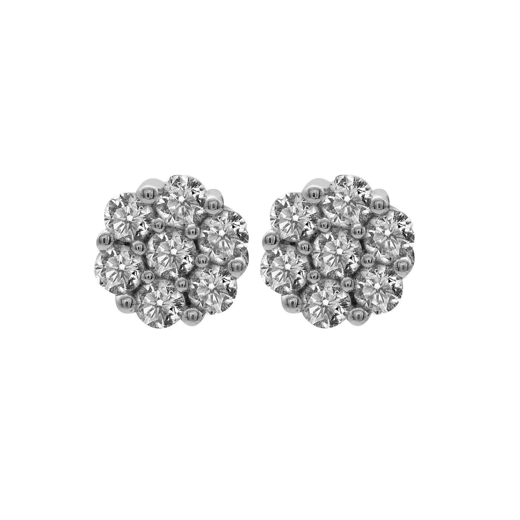 0.75 CT Diamond Cluster Studded Earrings Set in 14K White Gold | .75 Diamond Cluster Studded Earrings Set in 14K White Gold for Women. Gold Weight is 2.5 grams. P...