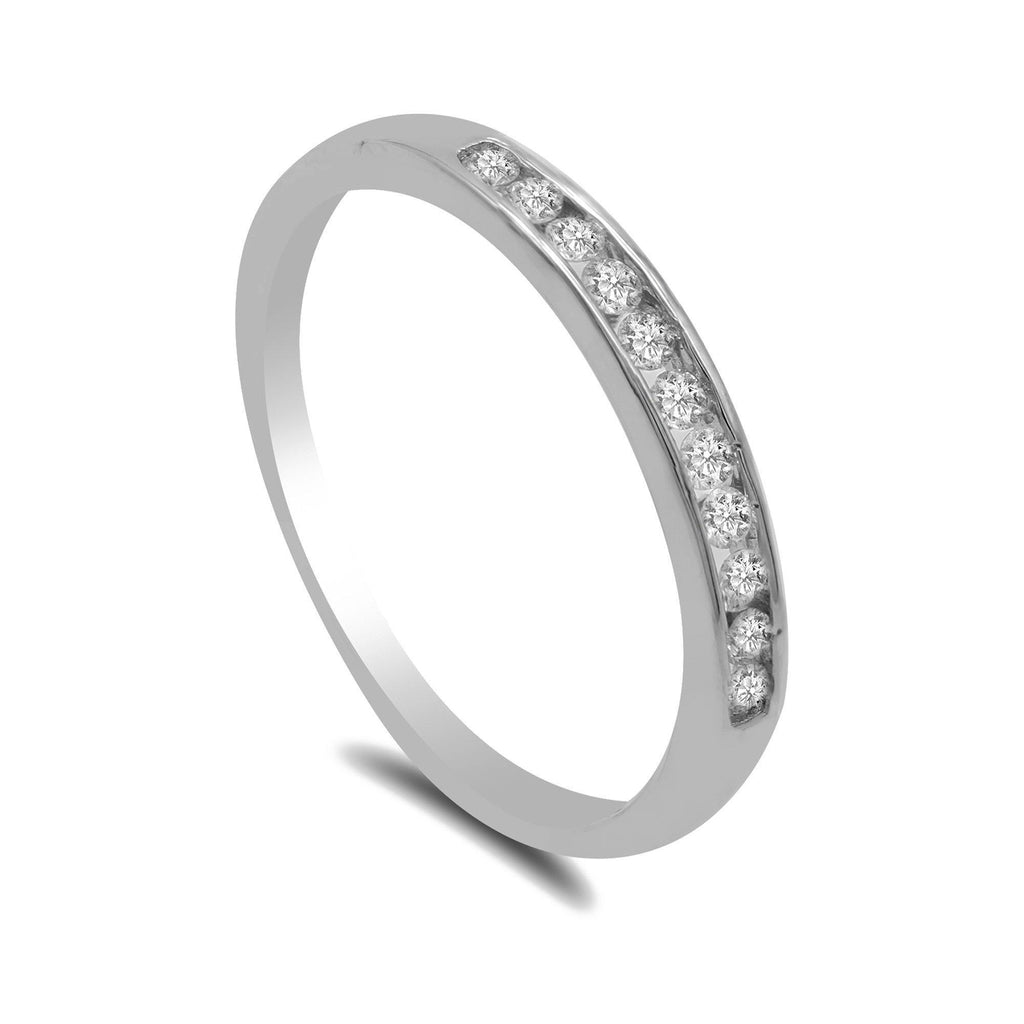 0.15CT Diamond Ring Band in 14K White Gold W/Diamond Trim | 0.15CT Diamond Ring Band in 14K White Gold W/Diamond Trim for women. This delicate ring comes wit...