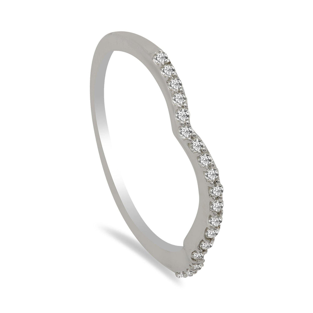 0.15CT Diamond Ring in 14K White Gold W/ Draping Design | 0.15CT Diamond Ring in 14K White Gold W/ Draping Design for women. This beautiful piece of jewelr...
