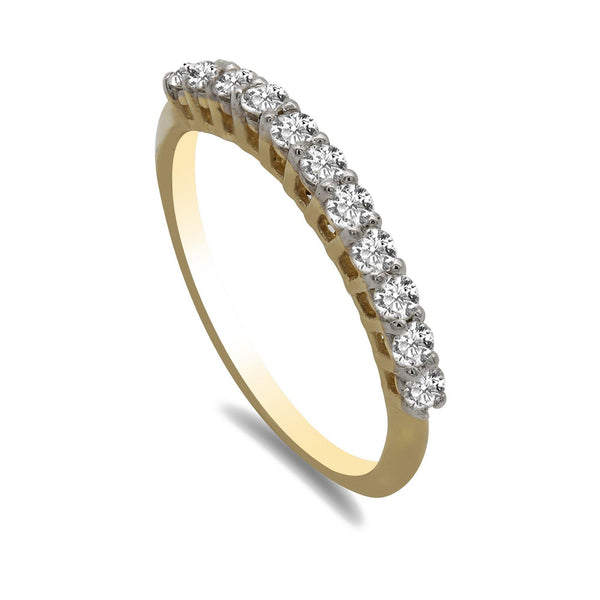 0.36CT Diamond Band Ring Set in 14K Yellow Gold W/ Shared Prongs | 0.36CT Diamond Band Ring Set in 14K Yellow Gold W/ Shared Prongs for women. Half row of shinning ...