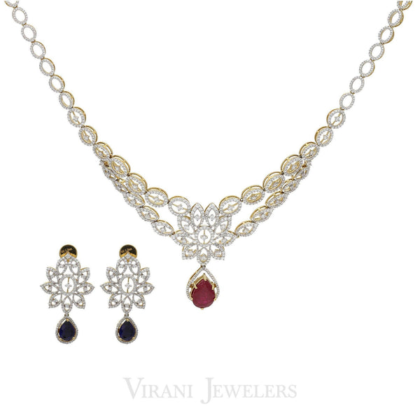 4.81CT Diamond Fluer Rebelle Necklace & Earrings Set in 18K Yellow Gold | 4.81CT Diamond Fluer Rebelle Necklace & Earrings Set in 18K Yellow Gold for women. Gorgeous n...