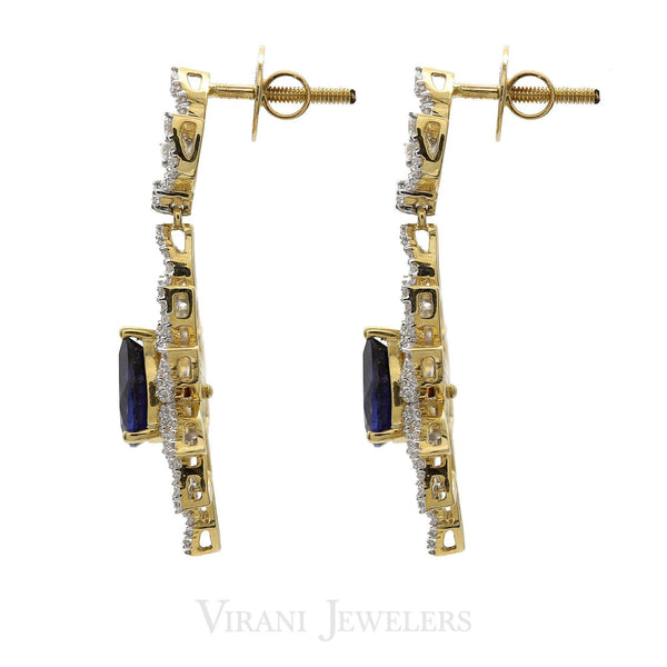 18K Multi Tone Gold Diamond Necklace & Drop Earrings Set W/ 6.27ct VVS Diamonds & Interchangeable Stone on Open Cut Leaf Frame |  18K Multi Tone Gold Diamond Necklace & Drop Earrings Set W/ 6.27ct VVS Diamonds & Interc...