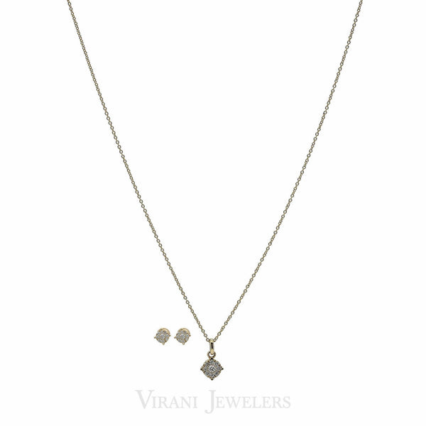 18K Gold Diamond Necklace and Earrings Set |