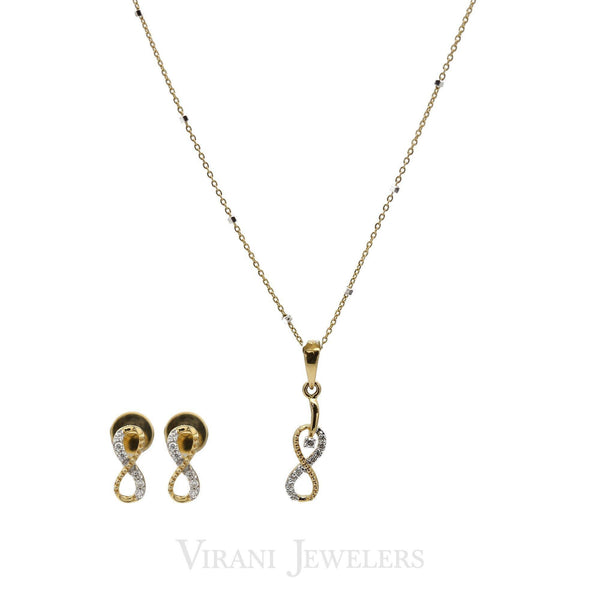 0.16CT Diamond Infinity Pendant & Earrings Set in 18K Yellow Gold | 0.16CT Diamond Infinity Pendant & Earrings Set in 18K Yellow Gold for women. Classic inifinit...