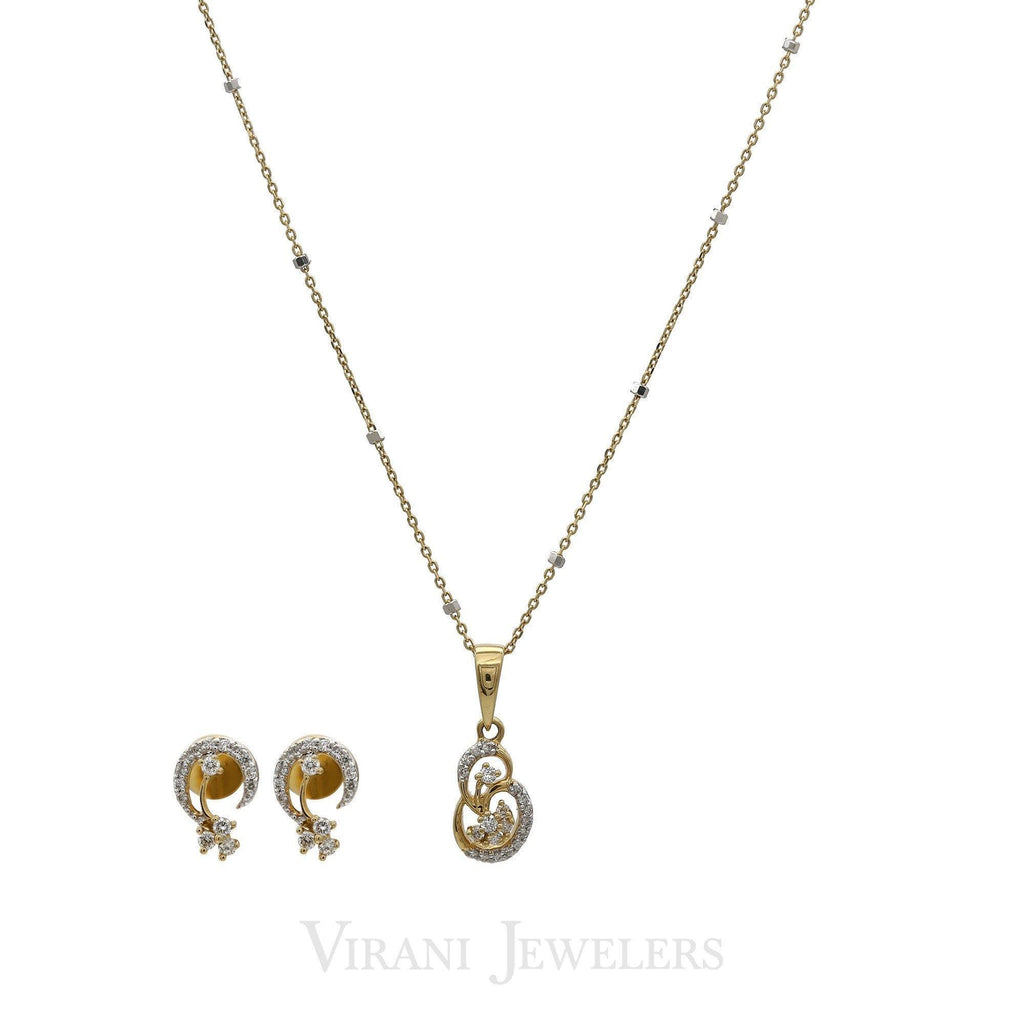 0.37CT Diamond Crecent Pendant Necklace & Earrings Set In 18K Gold | 0.37CT Diamond Crecent Pendant Necklace & Earrings Set In 18K Gold for women. Earrings have s...