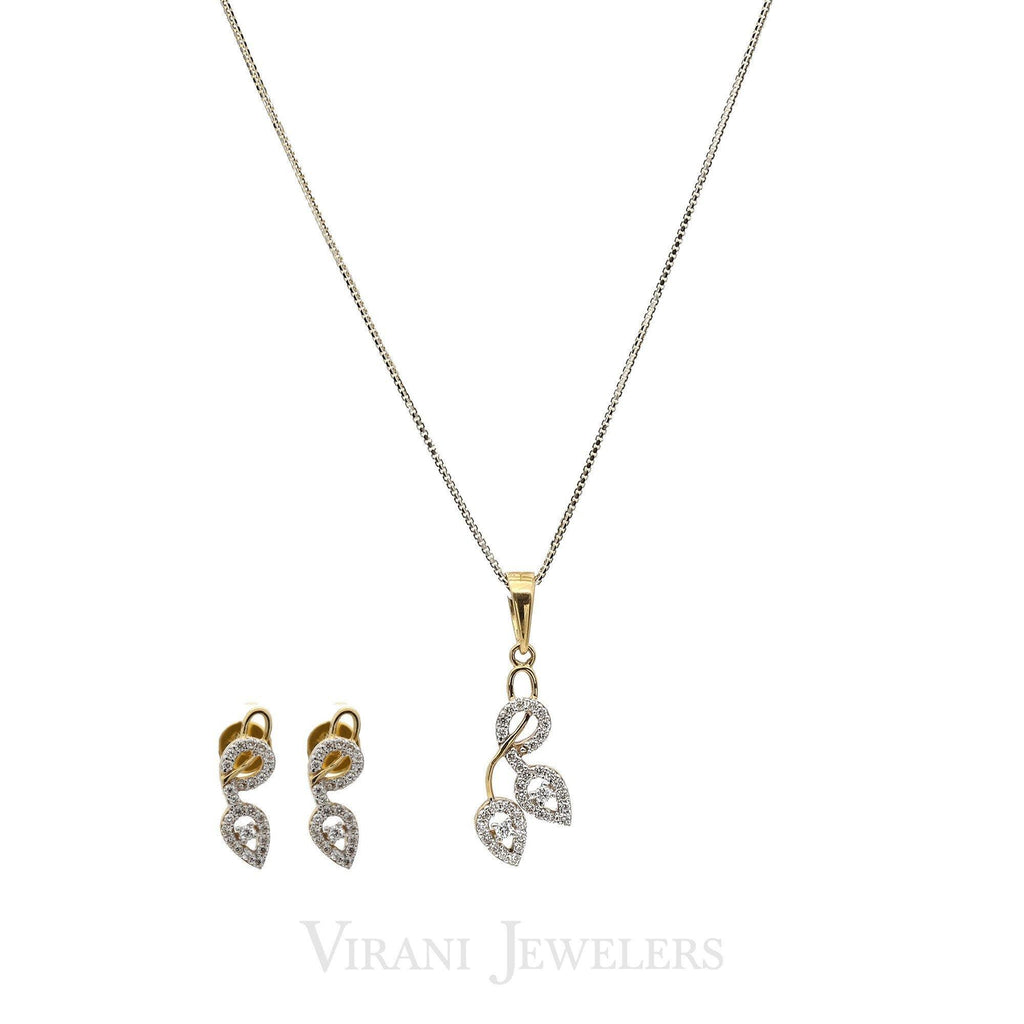 0.52CT Diamond Leaf Bisou Pendant Necklace & Earring Set in 18K Gold | 0.52CT Diamond Leaf Bisou Pendant Necklace & Earring Set in 18K Gold for women. Pendat and ea...