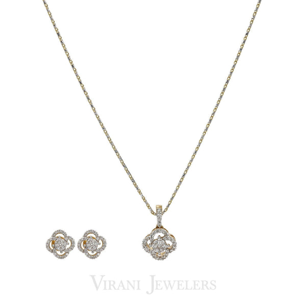 0.64CT Diamond Quatrefoil Pendant Necklace & Earrings Set in 18K Yellow Gold | 0.64CT Diamond Quatrefoil Pendant Necklace & Earrings Set in 18K Yellow Gold for women. Set f...