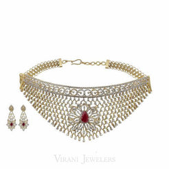 Limited Edition 12.55CT VVS Diamond Choker & Earring Set in 18K Gold W/ Centre Ruby