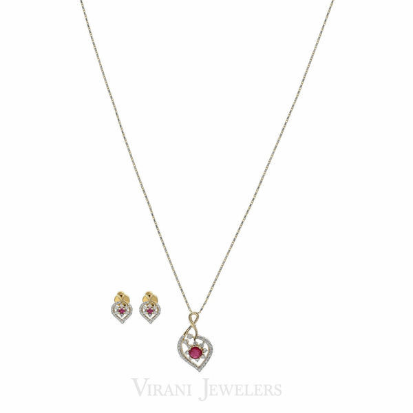 0.69CT Diamond Infinity Heart Necklace & Earrings Set in 18K Yellow Gold |  0.69CT Diamond Infinity Heart Necklace & Earrings Set in 18K Yellow Gold for women. The perf...