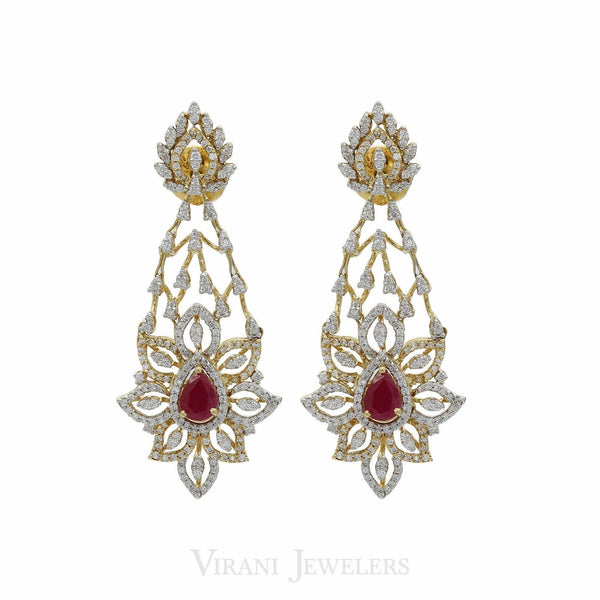 Limited Edition 12.55CT VVS Diamond Choker & Earring Set in 18K Gold W/ Centre Ruby |  Limited Edition 12.55CT VVS Diamond Choker & Earring Set in 18K Gold W/ Centre Ruby for wome...