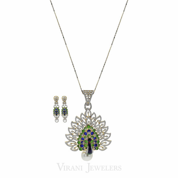 Peacock Diamond Pendant Necklace & Earring Set in 18K Gold W/ 4.51CT Round Diamonds | Peacock Diamond Pendant Necklace & Earring Set in 18K Gold W/ 4.51CT Round Diamonds for women...