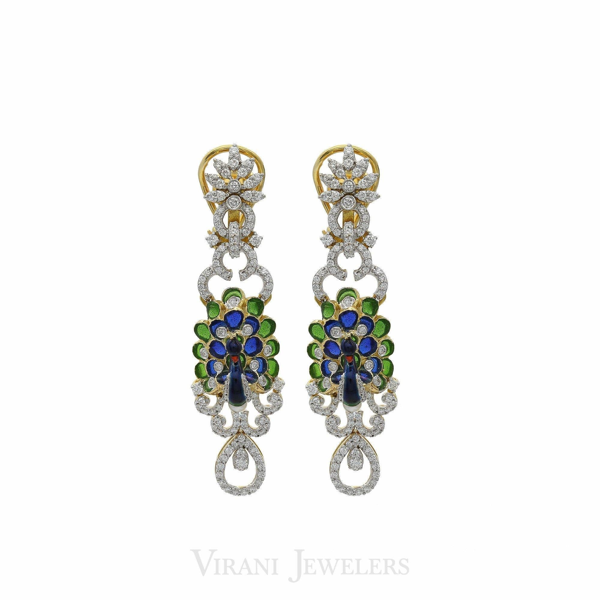 Peacock Diamond Pendant Necklace & Earring Set in 18K Gold W 4 51CT