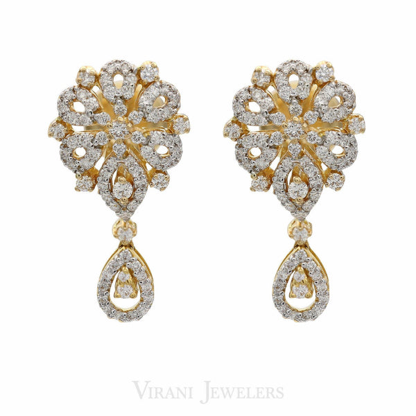 5.63CT Diamond Fluer De Force Necklace & Earrings Set in 18K Yellow Gold | 5.63CT Diamond Fluer De Force Necklace & Earrings Set in 18K Yellow Gold for women. Stunning ...