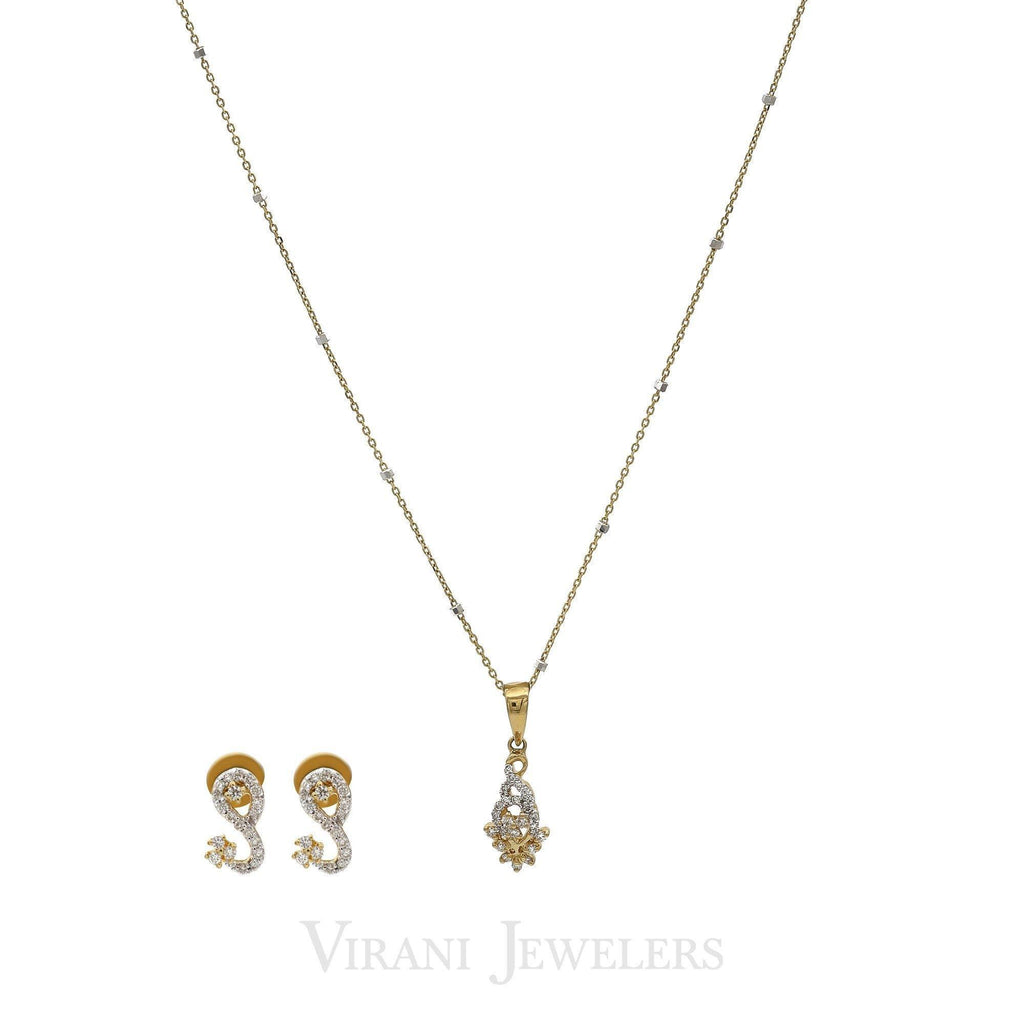 0.38CT Diamond Abstract Art Pendant Necklace & Earrings Set In 18K Gold | 0.38CT Diamond Abstract Art Pendant Necklace & Earrings Set In 18K Gold for women. Necklace p...