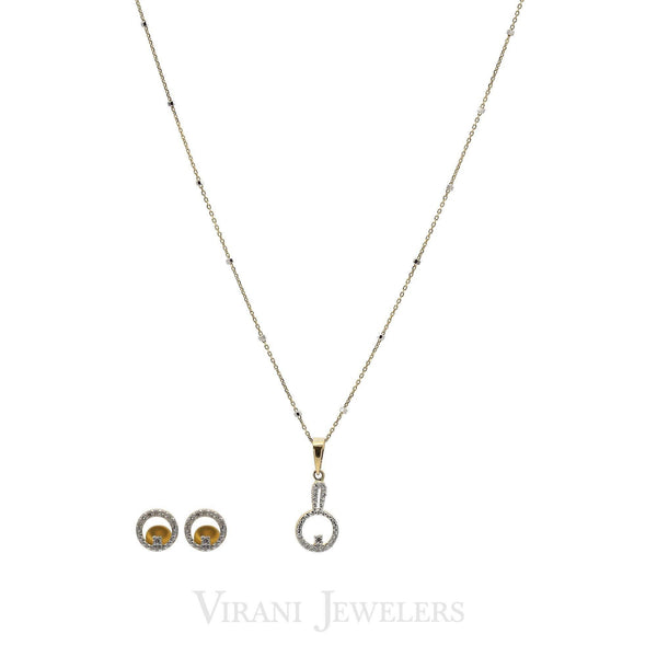 0.25 CT Round Brilliant Diamond Necklace and Earrings in 18K Yellow Gold W/ HollowCircle Cut | 0.25 CT Round Brilliant Diamond Necklace and Earrings in 18K Yellow Gold W/ HollowCircle Cut for ...