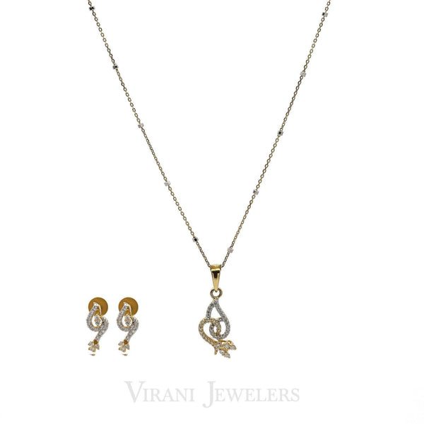 0.47CT Diamond Bisou Pendant Necklace & Earrings Set in 18k Yellow Gold | 0.47CT Diamond Bisou Pendant Necklace & Earrings Set in 18k Yellow Gold for women. Necklace p...