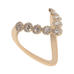 0.58CT Diamond Wish V Ring Set In 14K Yellow Gold