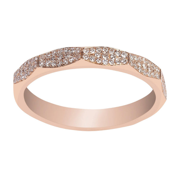 0.17CT Modern Diamond Ring Set in 14K Rose Gold | 0.17CT Modern Diamond Ring Set in 14K Rose Gold for women. Modern, minimalist piece with beautifu...