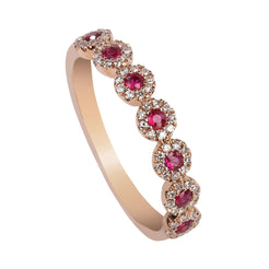 Minimalist 0.24 CT Diamond Ring in 14k Rose Gold with Ruby Stones