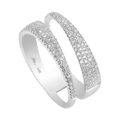 0.45CT Diamond Encrusted Swirl Stacked Ring Set In 14K White Gold