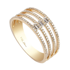 0.4CT Multi Layer Stacked Diamond Ring Set In 14K Yellow Gold