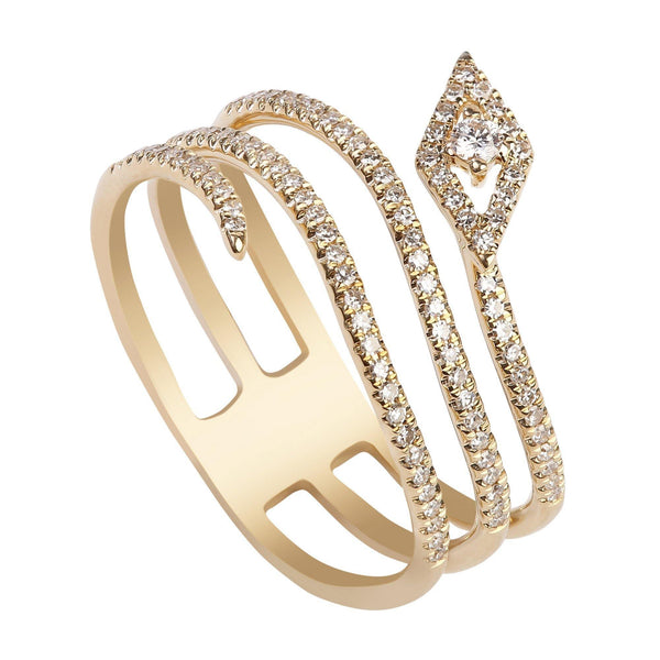 0.28CT Stacked Snake Diamond Ring Set In 14K Yellow Gold | 0.28CT Stacked Snake Diamond Ring Set In 14K Yellow Gold for women. Diamond ring features a movin...