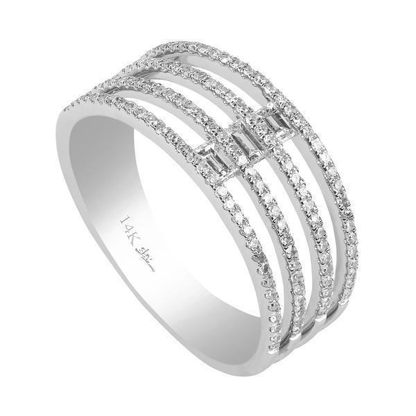 0.4CT Multi Layer Stacked Diamond Ring Set In 14K White Gold | 0.4CT Multi Layer Stacked Diamond Ring Set In 14K White Gold for women. Ring features a multi lay...