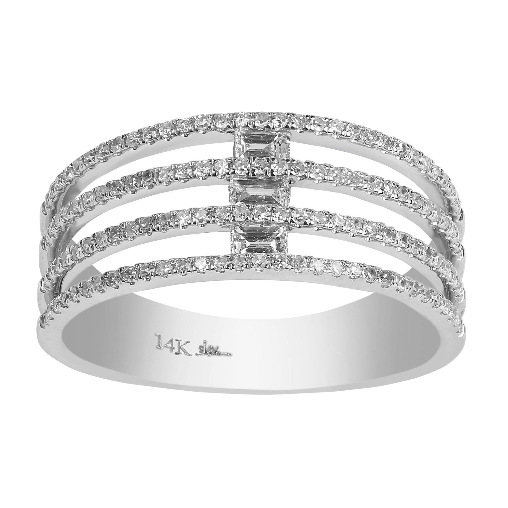 fresh layered rings of diamond ring round criss cross and baguette engagement