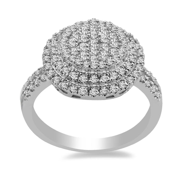0.9CT Diamond Double Halo Ring set in 14K White Gold | 0.9CT Diamond Double Halo Ring set in 14K White Gold for Women. Ring features a double halo frame...