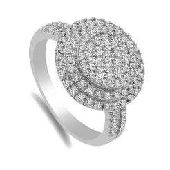0.9CT Diamond Double Halo Ring set in 14K White Gold