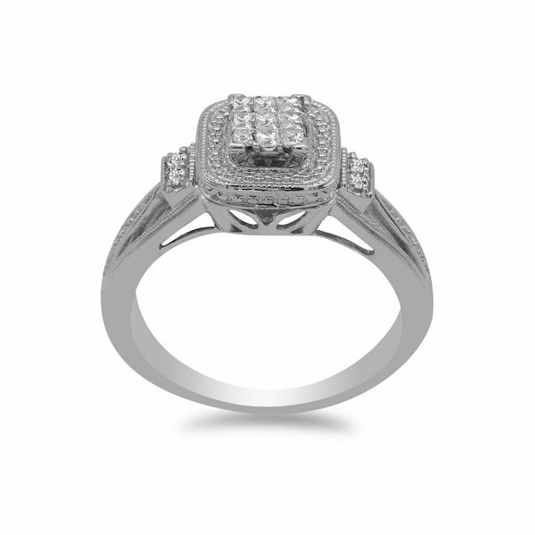 0.2CT Diamond Ring W/Princess Cut Cluster set in 14K White Gold | 0.2CT Diamond Ring W/Princess Cut Cluster set in 14K White Gold for Women. Ring features a double...