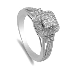 0.2CT Diamond Ring W/Princess Cut Cluster set in 14K White Gold