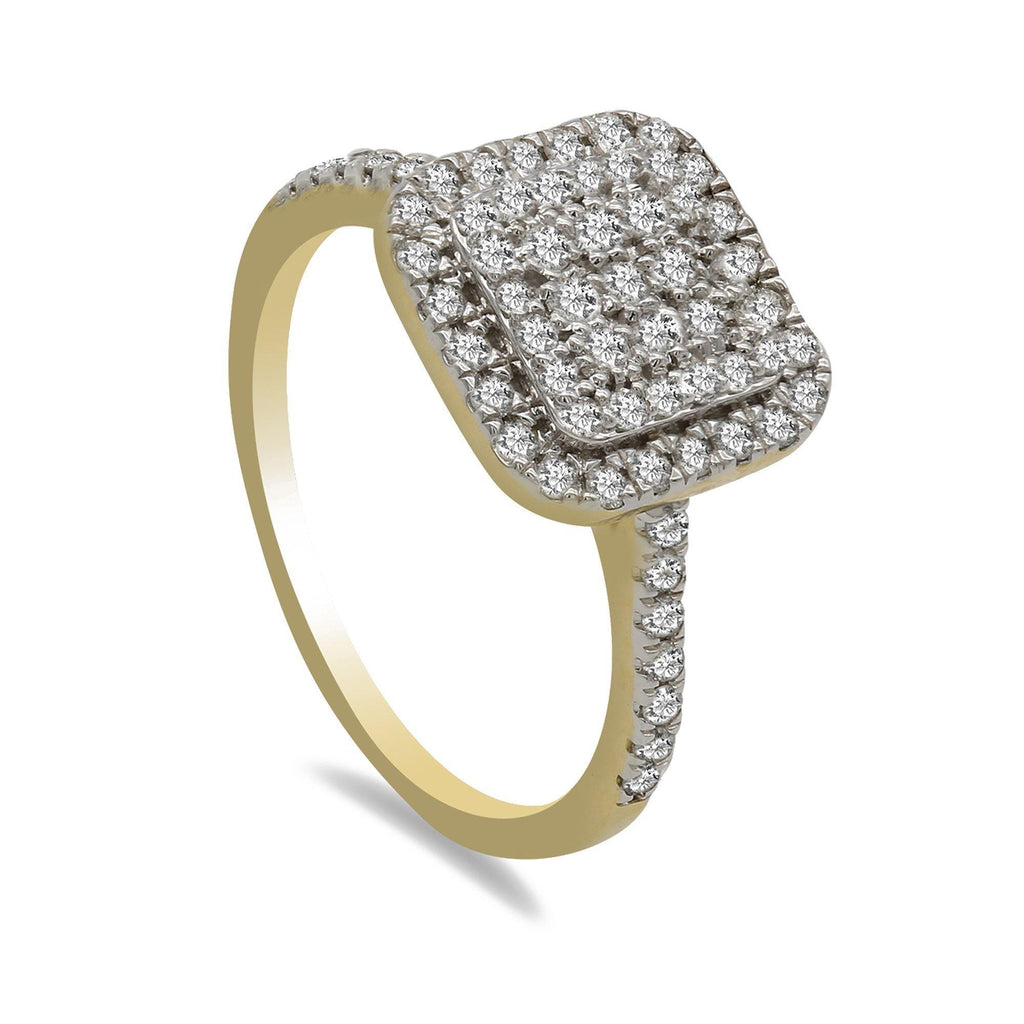 0.55CT Diamond Double Princess Frame Ring in 14K Yellow Gold | 0.55CT Diamond Double Princess Frame Ring in 14K Yellow Gold for Women. Ring features a double sq...