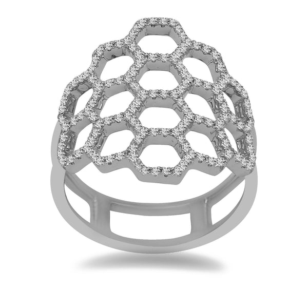 Minimalist 0.47 ct Diamond Ring in 14k White Gold Honeycomb Shape | 14K Diamond Ring Honeycomb shape for Women. Diamond weight is 0.47 ct. Total weight is 3.8 grams....