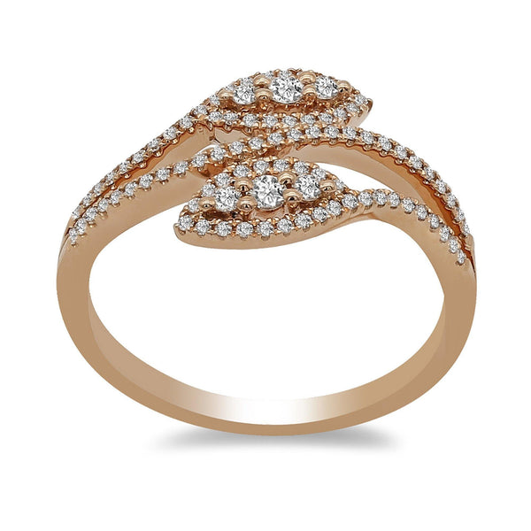 0.32CT Bisou Leaf Diamond Ring in 14K Rose Gold | Minimalist 0.32CT Bisou Leaf Diamond Ring in 14K Rose Gold for Women. Ring features handcrafted l...