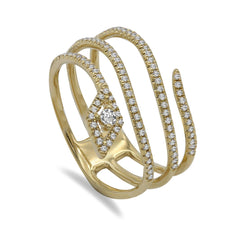 0.28CT Diamond Serpent Ring Set in 14K Yellow Gold
