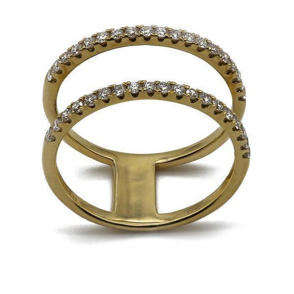 0.45CT Diamond Connected Stackable Ring Set in 18K Yellow Gold | 0.45CT Diamond Connected Stackable Ring Set in 18K Yellow Gold for women. Ring features a stackab...