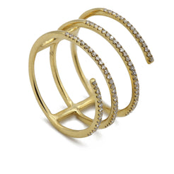 0.2CT Diamond Swirl Stackable Ring Set in 18K Yellow Gold