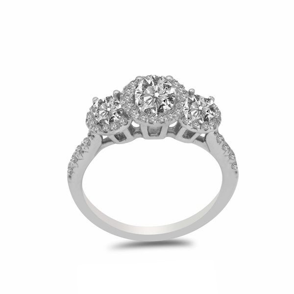 1.15CT Diamond Tri Stone Halo Engagement Ring Set in 14K White Gold | 1.15CT Diamond Tri Stone Halo Engagement Ring Set in 14K White Gold for women. Ring features a 3 ...