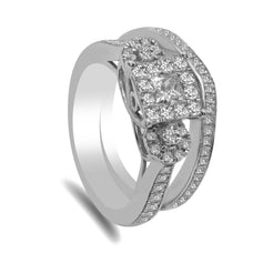1.05CT Diamond Princess Shape Engagement Ring Set in 14K White Gold