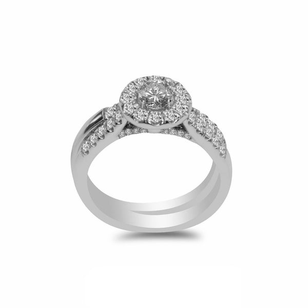 1.0CT Diamond Engagement Ring Set in 14K White Gold | 1.0CT Halo Diamond Engagement Ring Set in 14K White Gold for women. Center stone has a solitare o...