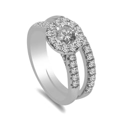 1.0CT Diamond Engagement Ring Set in 14K White Gold