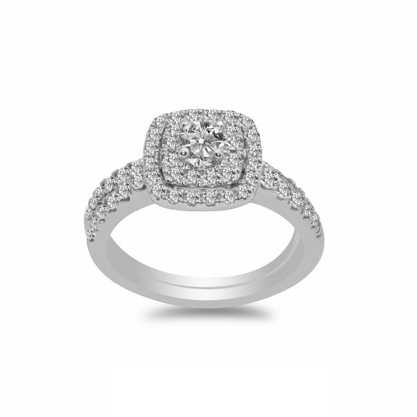 1CT Double Halo Diamond Engagement Ring Set in 14K White Gold | 1CT Double Halo Diamond Engagement Ring Set in 14K White Gold for women. Ring features a double s...