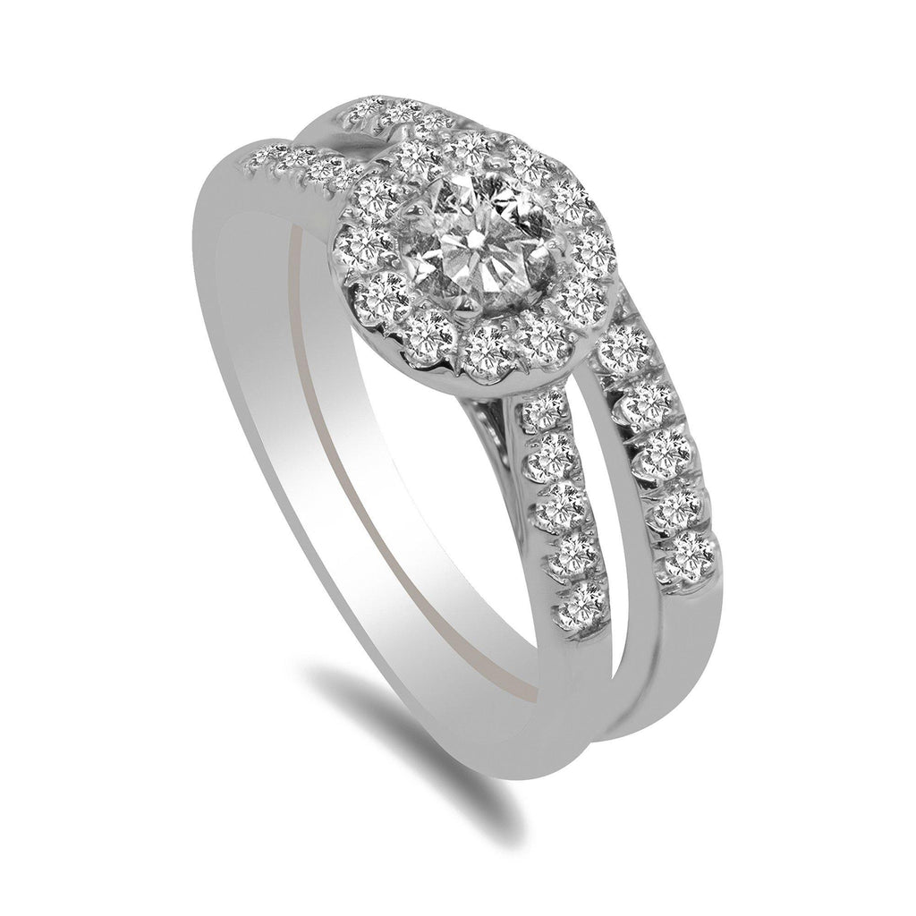 0.75CT Diamond Engagement Ring with Halo and Side Diamond Accents set in 14K White Gold | 1CT Diamond Engagement Ring with Halo and Side Diamond Accents set in 14K White Gold for Women. D...