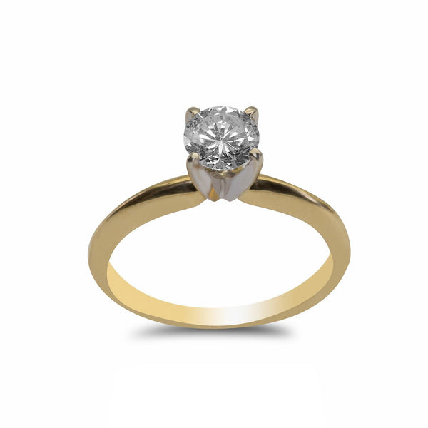 0.5CT Solitaire Diamond Ring Set in 18K Yellow Gold | 0.5CT Solitaire Diamond Ring Set in 18K Yellow Gold for women. Simple diamond ring features a hal...