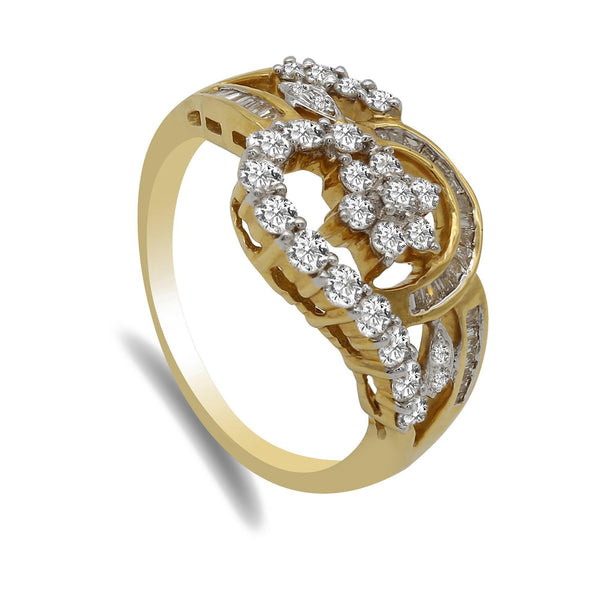 Flower Frame 0.89CT Diamond Ring Set in 18K Yellow Gold | Flower Frame 0.89CT Diamond Ring Set in 18K Yellow Gold for Women. Diamond ring features a floral...