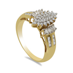 0.50CT Diamond Ring W/Marquise Cluster Frame Set in 18K Yellow Gold