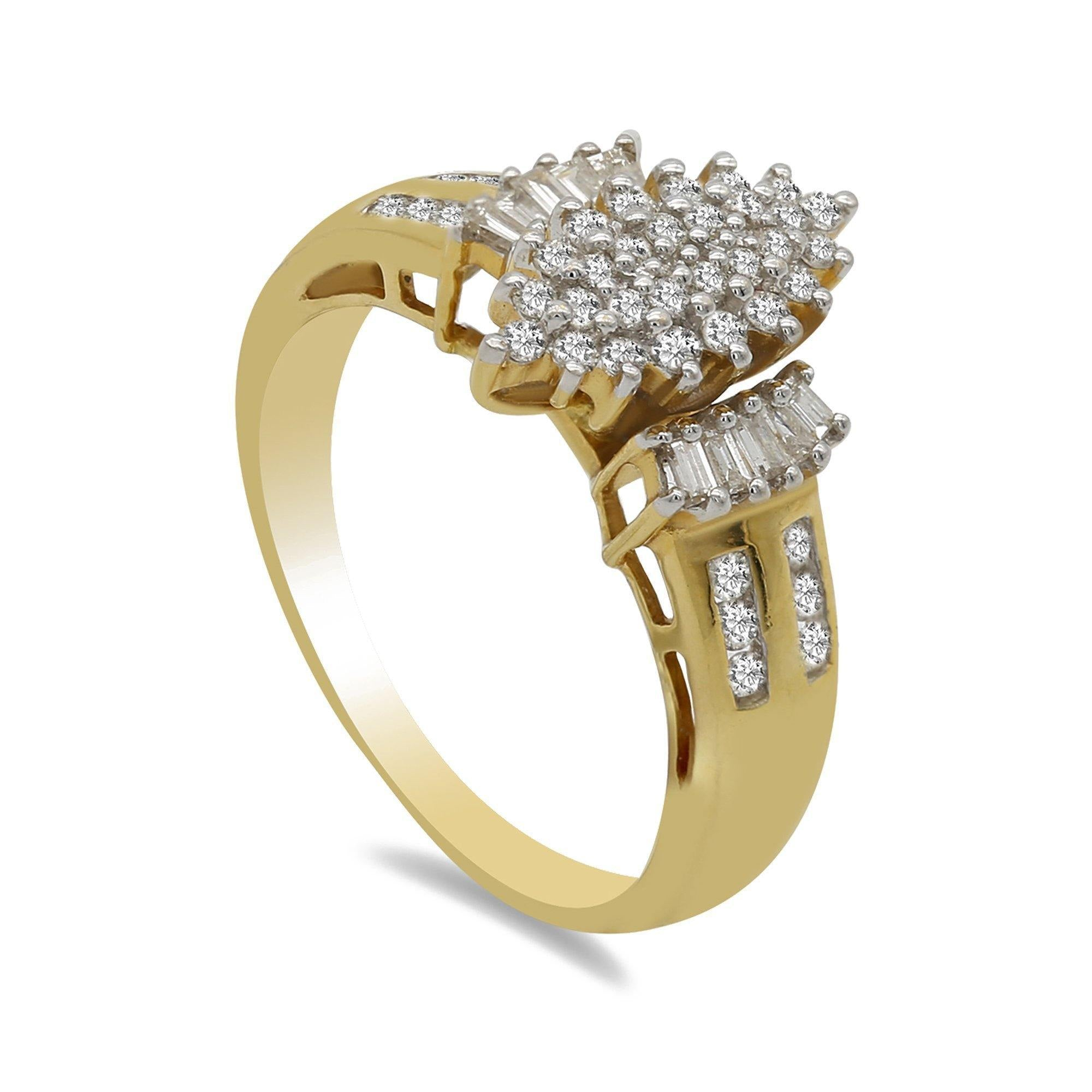 050ct Diamond Ring Wmarquise Cluster Frame Set In 18k Yellow Gold