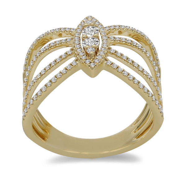 0.46CT Diamond Open Frame Ring Set 14K Yellow Gold W/ Marquise Frame | Minimalist 0.46CT Diamond Open Frame Ring Set 14K Yellow Gold W/ Marquise Frame for women. Ring f...