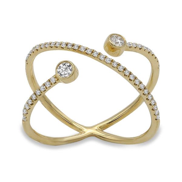 Minimalist 0.24 CT Twisting Diamond Ring in 14k Yellow Gold | Minimalist 0.24 c.t. Twisting Diamond Ring in 14k Yellow Gold for women. Gold weight is 2.1 grams...